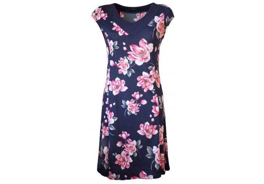 Modré letní šaty s květy