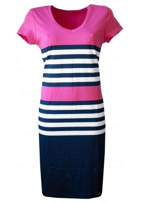 Růžové pruhované šaty