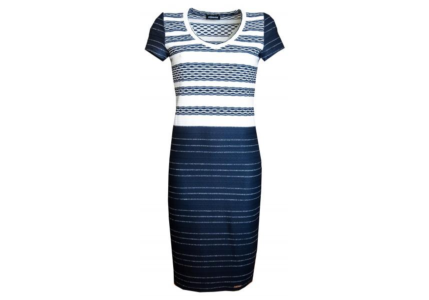 Šaty s bílo modro  stříbrnými pruhy