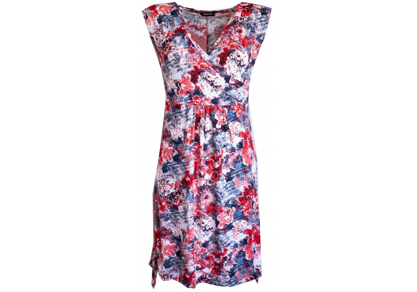 Letní šaty s červeno modrým tiskem