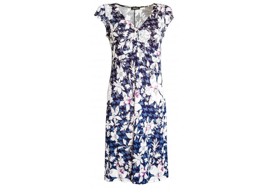 Letní modré šaty s tiskem květů