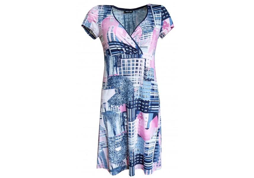 Letní šaty s růžovo modrým tiskem
