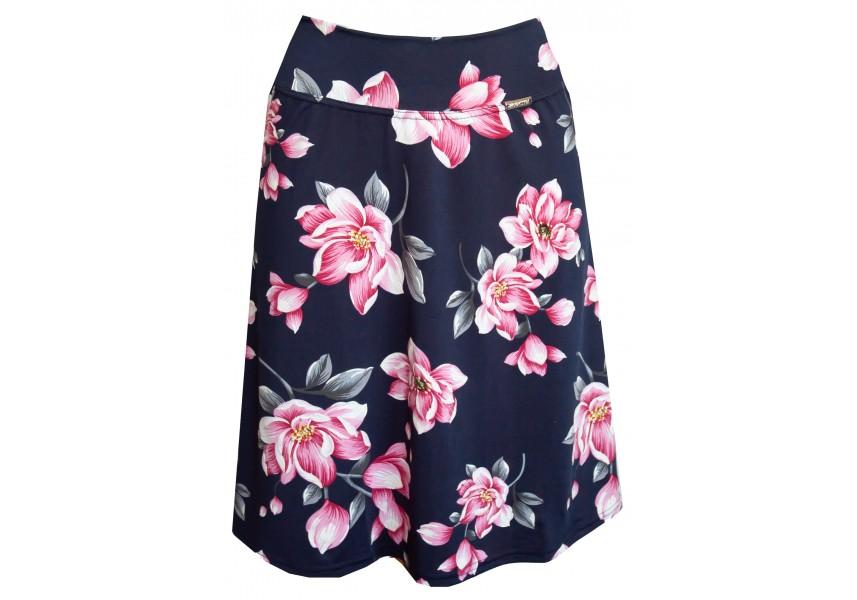 Letní modrá sukně s květy
