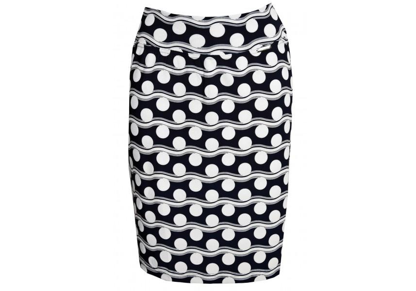 Modrá úzká sukně s bílým tiskem