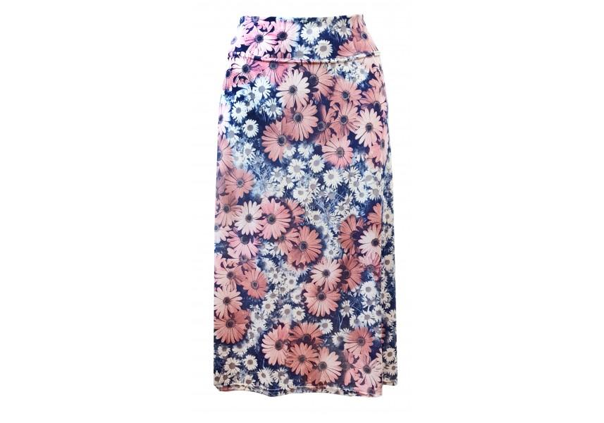 Modrá letní sukně s tiskem