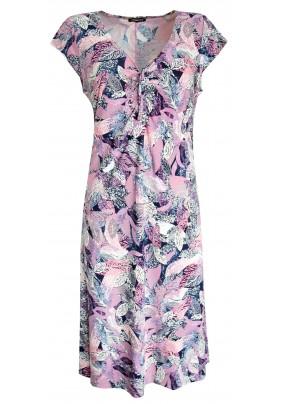 Letní šaty s růžovým tiskem listů