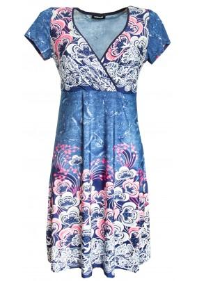 Letní modré šaty s růžovým tiskem