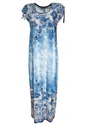 Dlouhé modré batikované šaty s tiskem květů