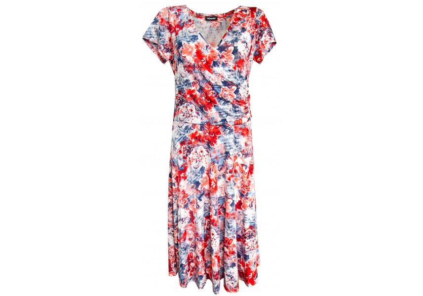 Červeno modré šaty se širokou sukní
