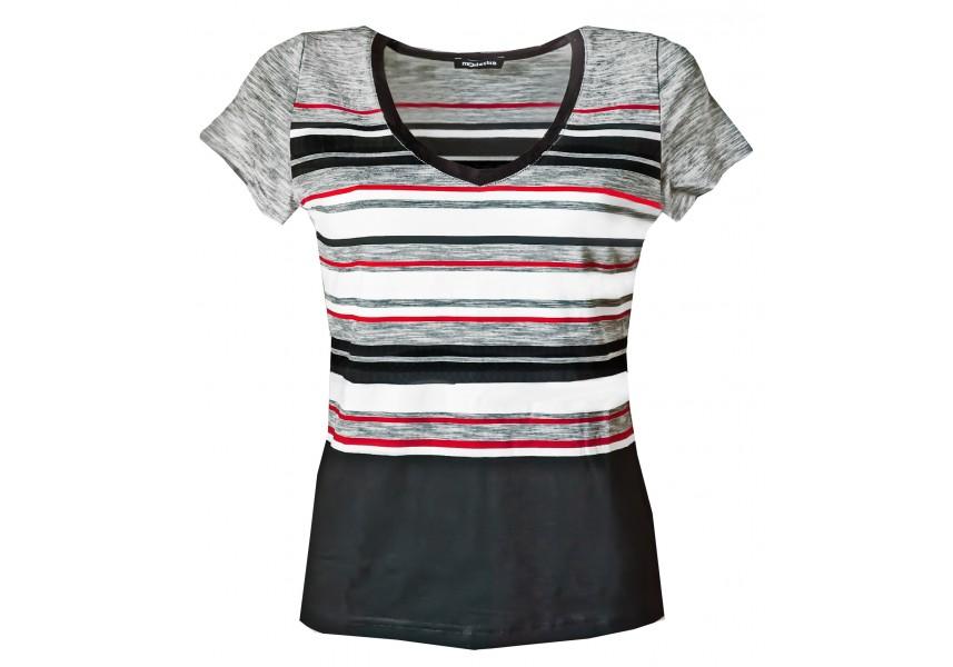 Pruhované triko s červenými proužky