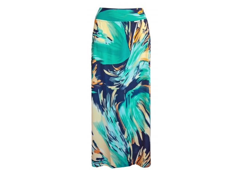 Dlouhá modro béžová letní sukně