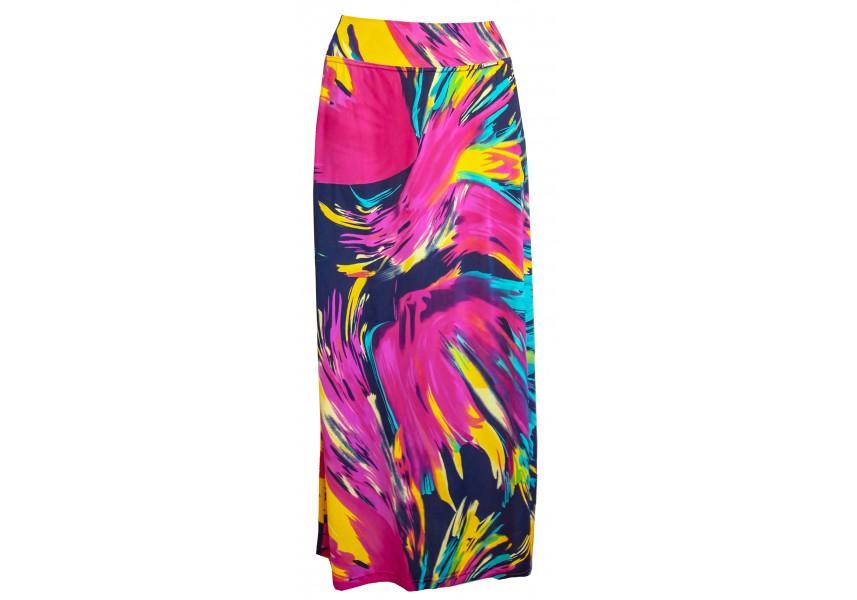 Dlouhá letní sukně s barevným tiskem