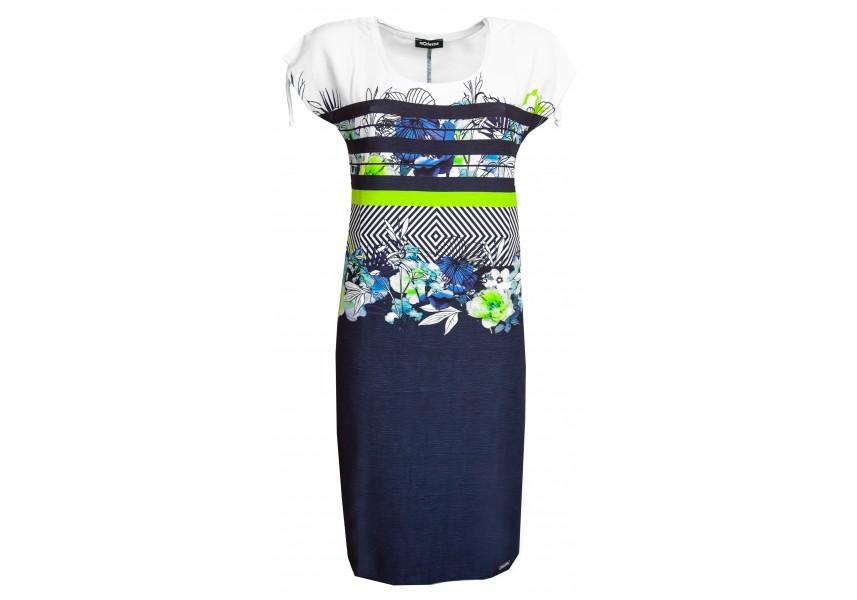 Pruhované šaty s tiskem květů