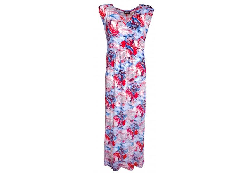 Modro béžové letní dlouhé šaty