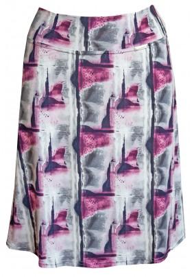 Světlá letní sukně s fialovým tiskem