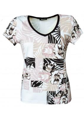 Bílé triko s tiskem s výstřihem do V