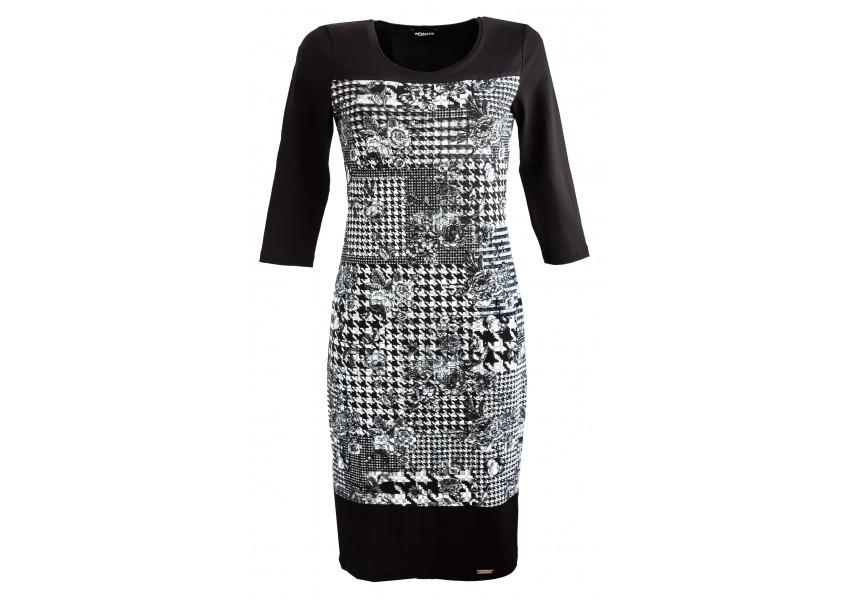 Šaty s černo bílým tiskem