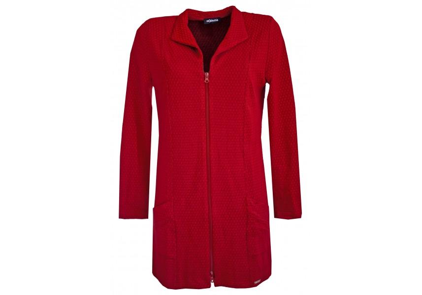 Červené prodloužené sako na zip