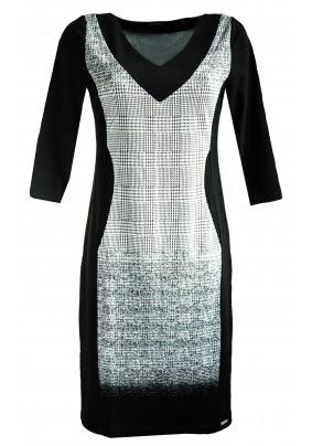 Elegantní černo bílé šaty s výstřihem do V