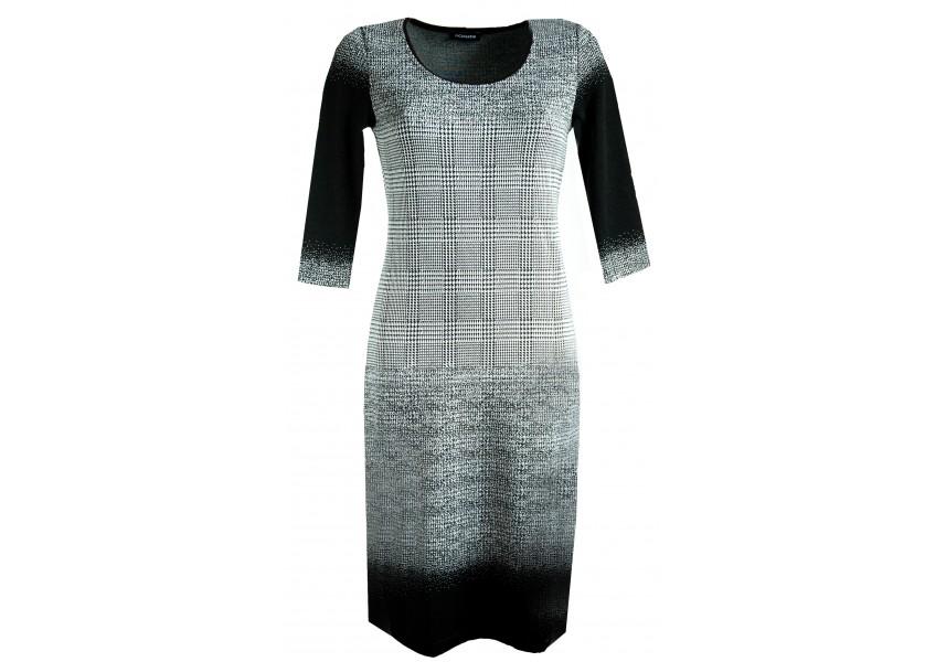 Elegantní šaty s černo bílými kostkami