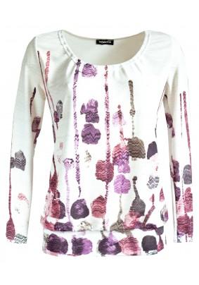 Slabý volný svetřík s růžovým tiskem