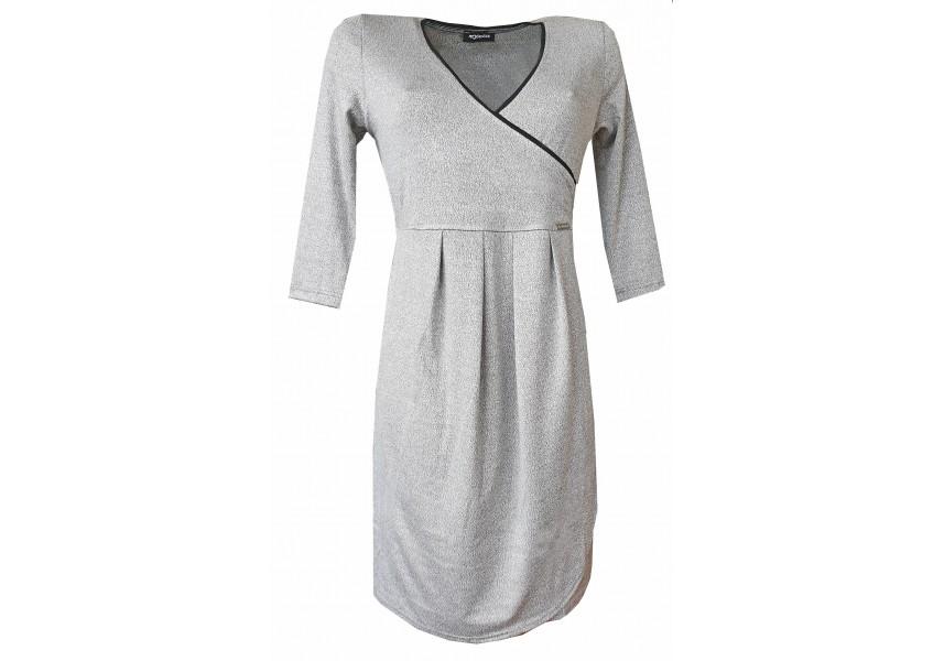 Světle šedé šaty s 3/4 rukávy