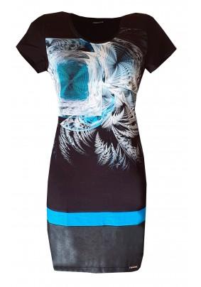 Černé jarní šaty s tiskem