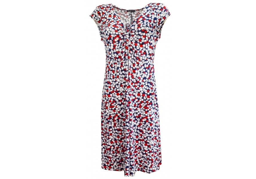 Tmavě modré letní šaty stiskem