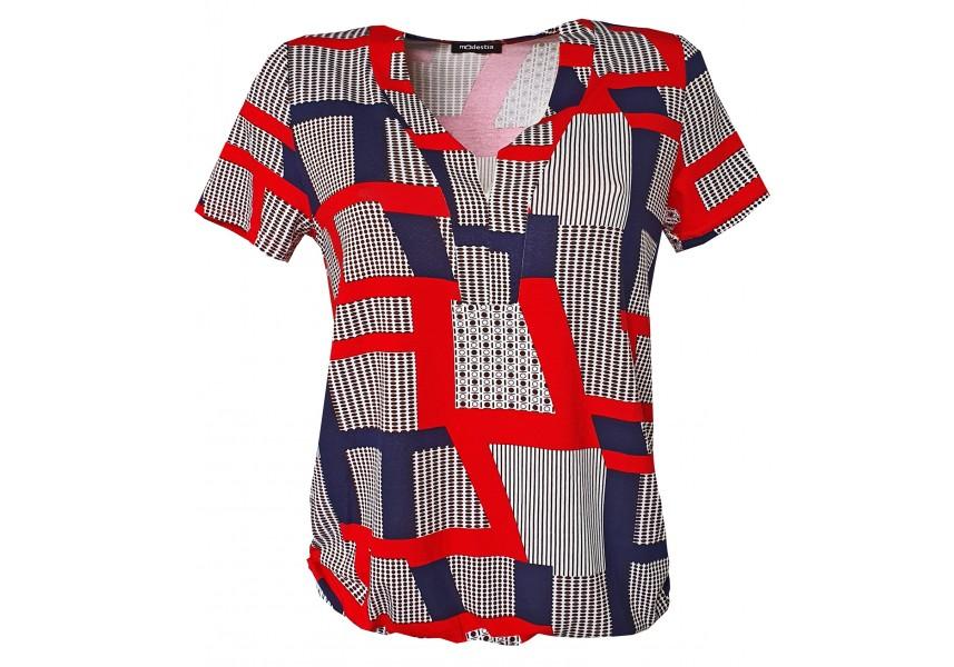 Halenka s červeno modrým geometrickým vzorem