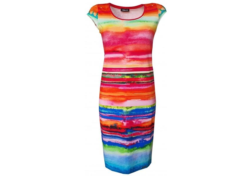 Barevné šaty s nepravidelnými pruhy