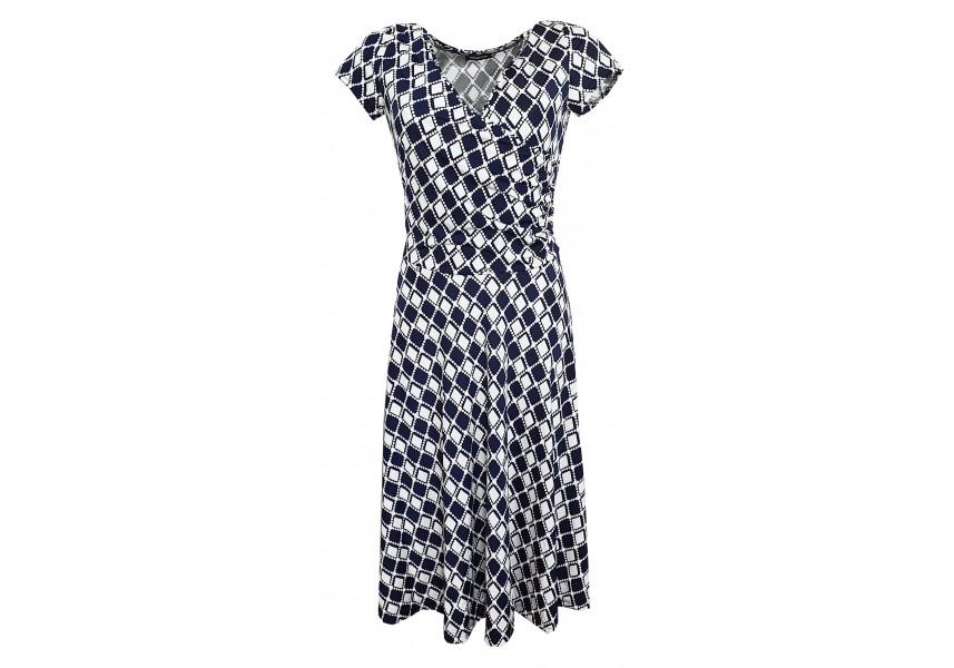 Modro bílé šaty se širokou sukní