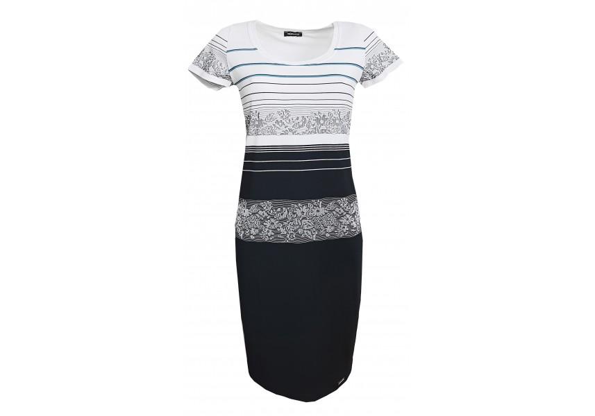 Pruhované šaty s tyrkysovým proužkem