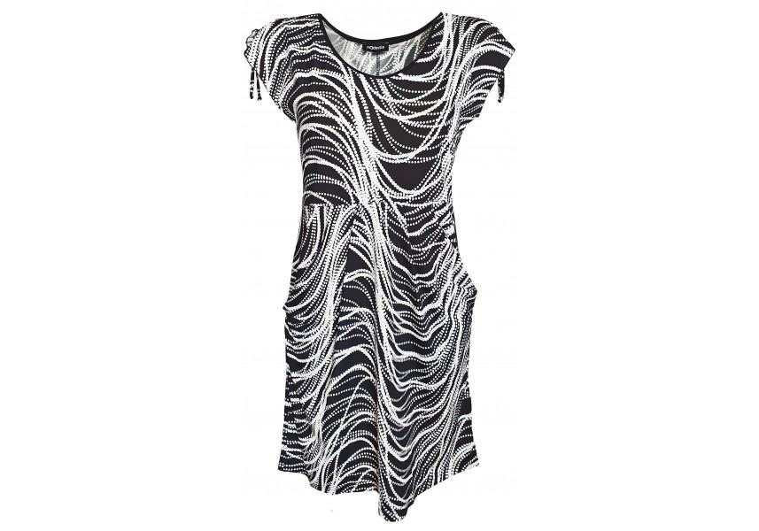 Černo bílé šaty s kapsami