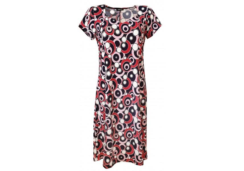 Šaty s dílovou sukní a tiskem koleček