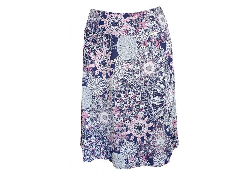 Krátká sukně s růžovo fialovým tiskem