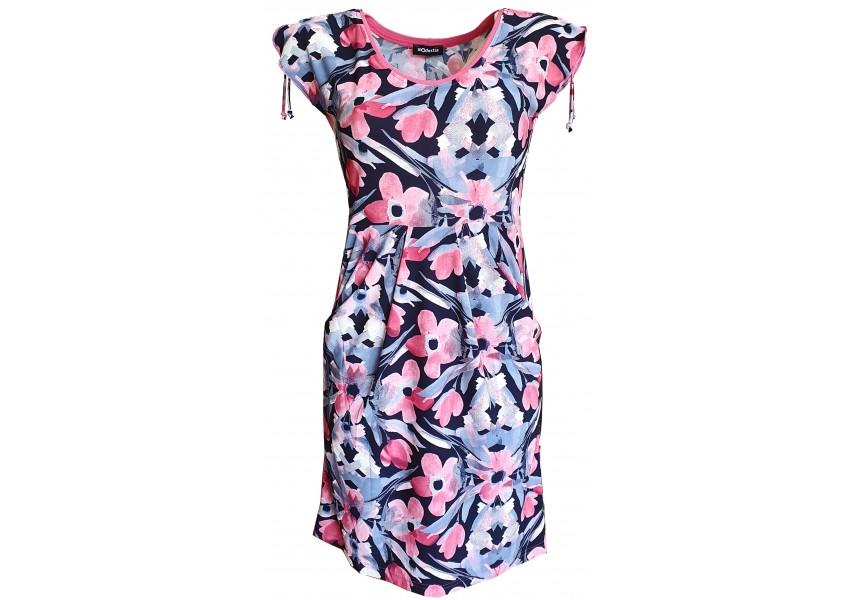 Kapsové šaty s růžovými květy