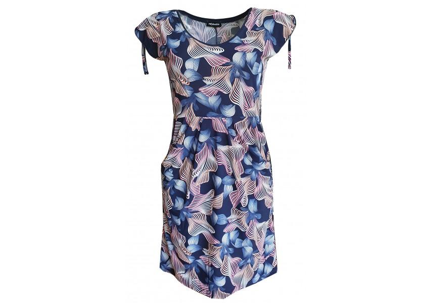 Modré kapsové šaty s barevným tiskem