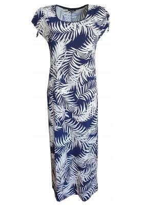 Dlouhé modré šaty s tiskem listů