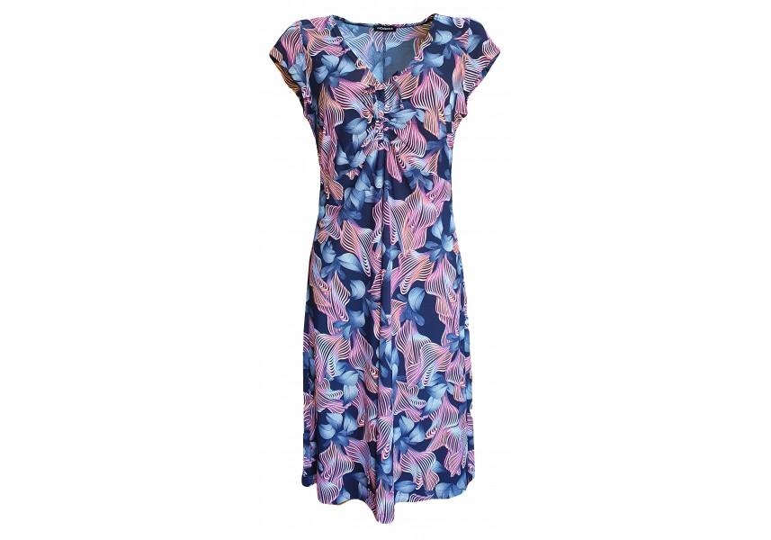 Modré delší šaty s barevným tiskem