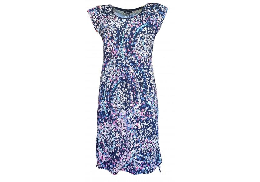Volné modré šaty s tiskem kytiček