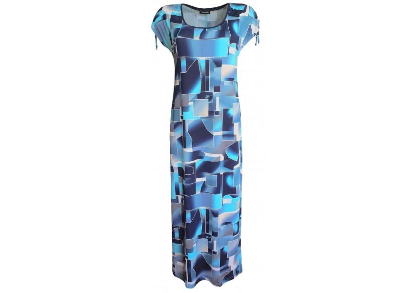 Dlouhé šaty s modrým geometrickým tiskem