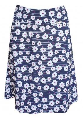 Modrá sukně do A s bílými kvítky