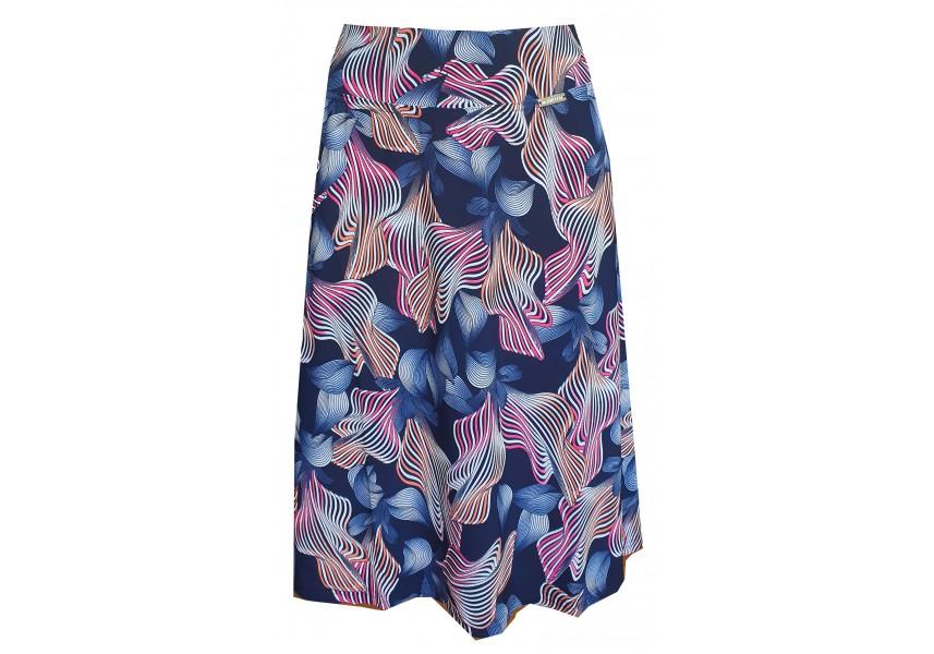 Modrá sukně do A s barevným tiskem