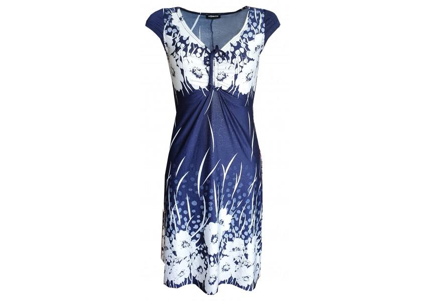 Tmavě modré šaty s bílými květy