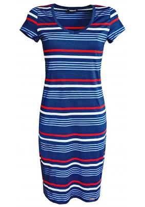 Šaty s krátkým rukávem s pruhy