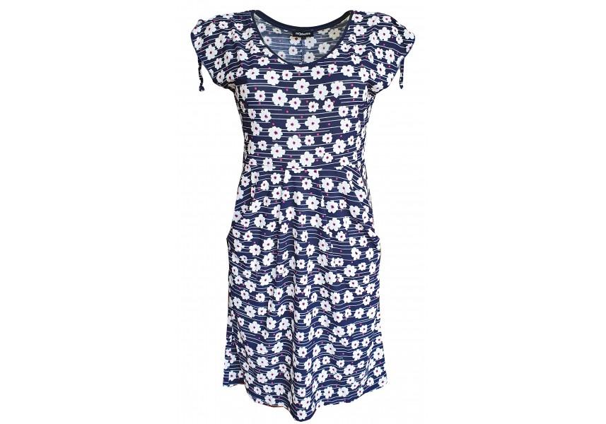 Letní kapsové šaty s tiskem kytiček