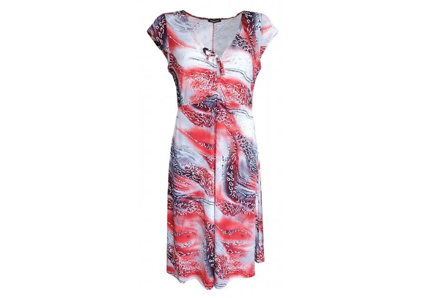 Šedo červené letní šaty