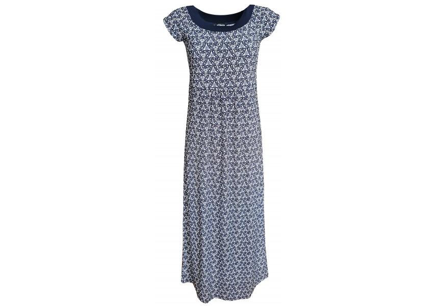 Dlouhé modro bílé šaty s krátkým rukávem