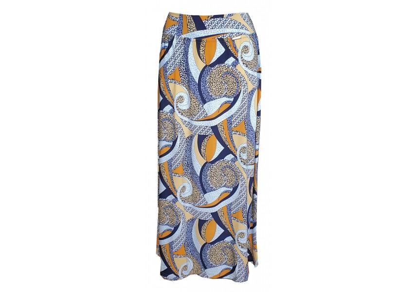 Dlouhá sukně s geometrickým žlutým tiskem