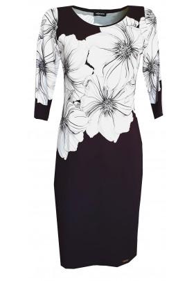 Černé šaty s tiskem bílých květů